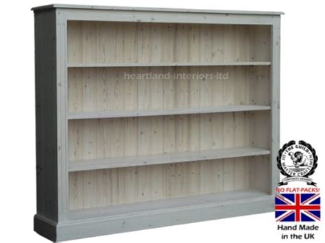 4 Ft Bookshelf Solid Pine Bookcase 4ft X 5ft Handcrafted White Washed
