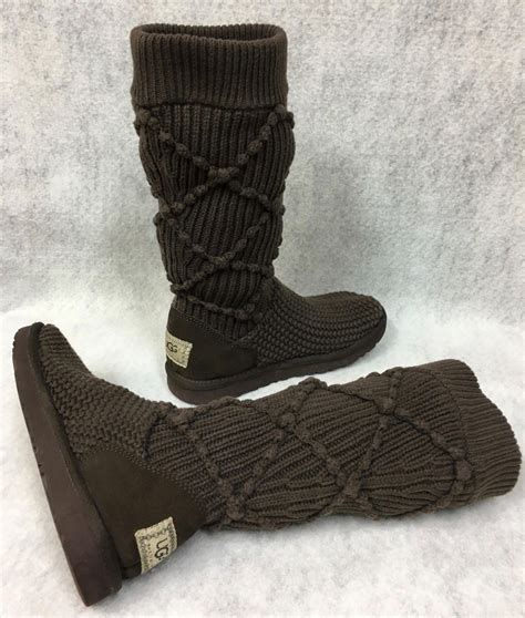 Ugg Classic Argyle Knit Boots 5879 Brown P Ugg Australia Dreaux The Knee Boots Stout Brown Size 6 495 What S It Worth