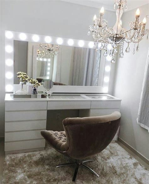 vanity table and chair with lights claudiagabg makeup organization