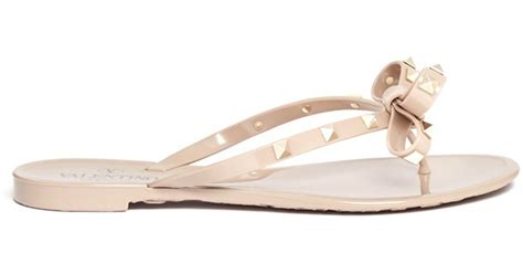 brown jelly sandals valentino rockstud bow flat jelly sandals in lyst