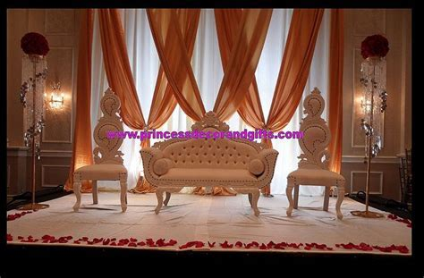 Golden Nikkah Stage Decor  Love Seats King & Queen Chairs