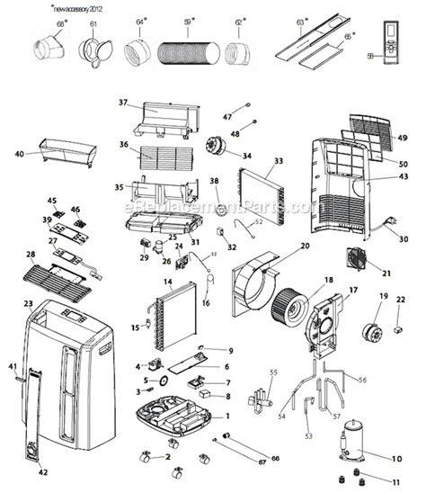 delonghi air conditioner parts delonghi pacan125hpec parts list and diagram