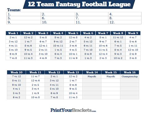 printable 12 team fantasy football league schedule