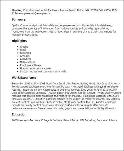 Quality Resume Skills by Professional Quality Analyst Templates To Showcase