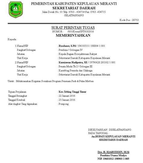 Contoh Surat Perintah Perjalanan Dinas Sppd by Contoh Surat Perintah Perjalanan Dinas Sppd Kotasurat