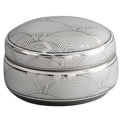 ceramic box deco fan deco ceramic trinket box in silver and white bed
