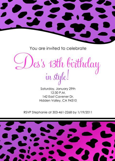 Free Printable 13th Birthday Invitations For Girls 13th Birthday Invitation Templates Free