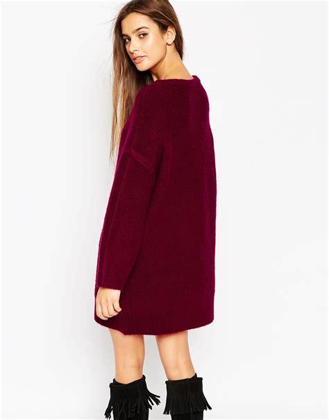 Chunky Knit Dress lyst asos oversized jumper dress in chunky knit in purple
