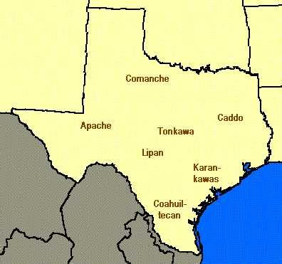 map of texas indians texas indian tribes map