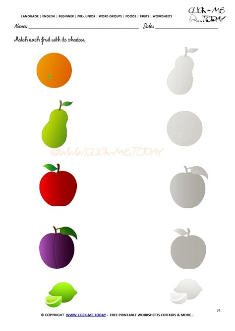 matching for and fruits worksheet 31 match each fruit with its shadow