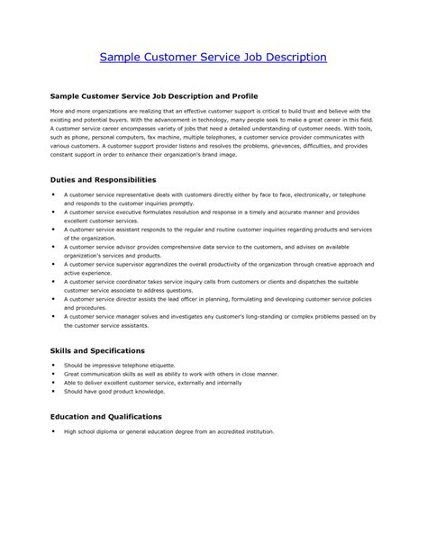 Duties Of A Customer Service by Customer Service Resume Description Resume Exles 2017