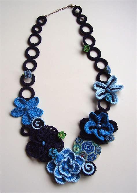 crochet jewelry blue crochet necklace flowers necklace blue choker summer