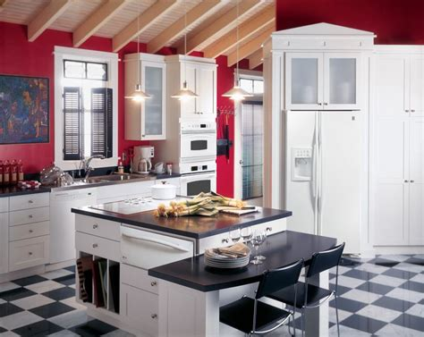 red kitchen white cabinets ge profile kitchen with red walls white cabinets and