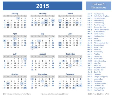 2015 calendar template with holidays printable printable 2015 calendar