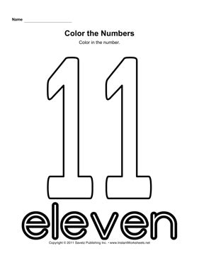 coloring page of number 11 color number 11