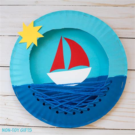 Paper Boat Craft For Preschoolers - paper plate boat family crafts