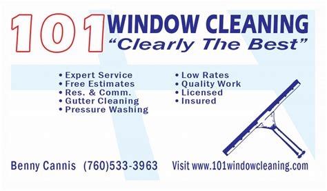 Free Window Cleaning Business Cards Templates by 101 Window Cleaning Encinitas Ca 92024 760 533 3963