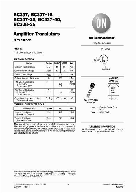 transistor equivalent bc337 bc337 25zl1 905891 pdf datasheet ic on line