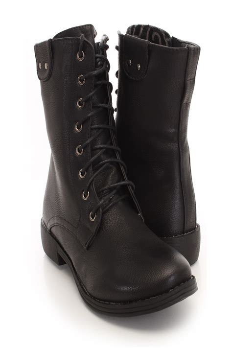 black faux leather lace up combat boots amiclubwear