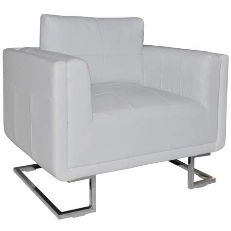 armchair white luxury leather cube armchair white with chrome feet