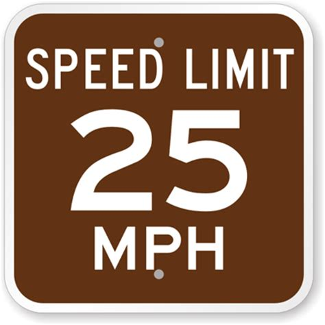 the color of a recreation area sign is speed limit 25 mph sign cground signs sku k 8422 25