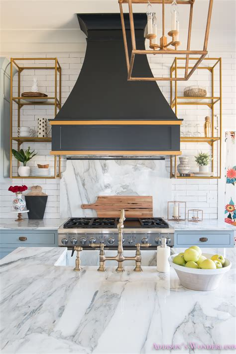 Bedding Ideas For Master Bedroom kitchen white marble calcutta gold open shelves gold black