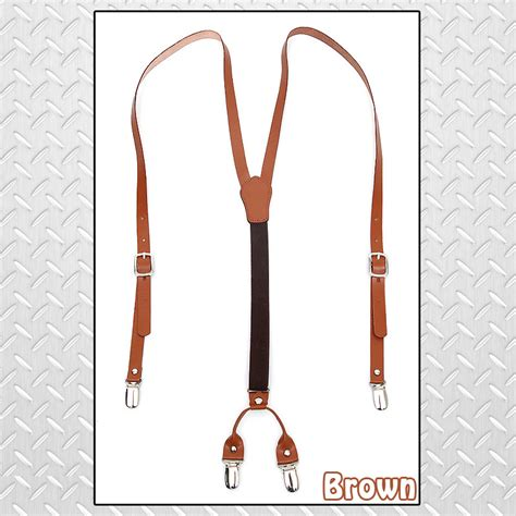 Po Dress Import High Quality Premium A42410 genuine leather elastic suspenders y back adjustable braces brown ebay