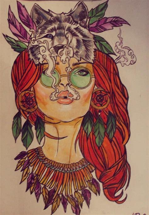cartoon girl tattoo tumblr hippie girl tattoo design http ahsr deviantart com art