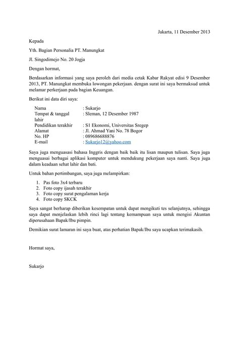 contoh surat lamaran kerja format download 15 contoh surat lamaran pekerjaan yang baik dan