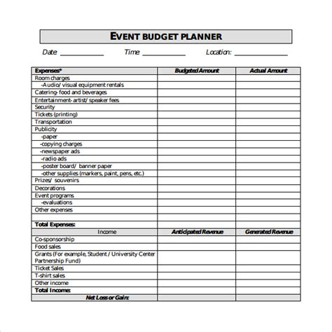 sle event budget 8 documents in pdf word excel