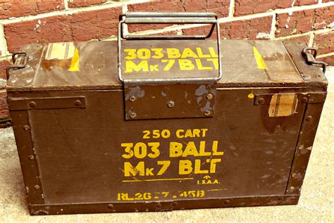 brit box sale wwii british 303 mk7 blt wooden ammo box sted 1945