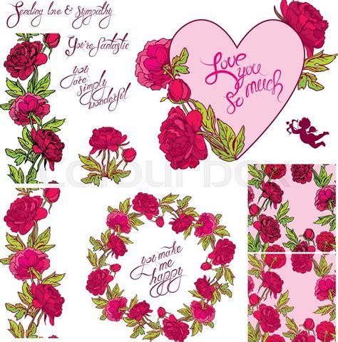 Vintage Retro Home Decor decorative handdrawn floral heart border frame and