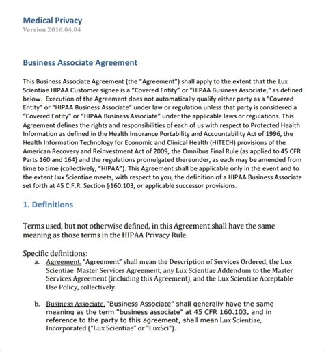 8 Business Associates Agreements Sle Templates Business Associate Agreement Template 2016