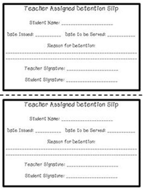 Detention Notice Template by School Detention Slip Education Ideas