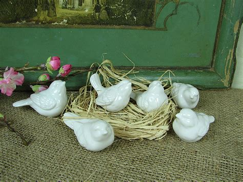 shabby cottage chic white ceramic birds home decor ebay