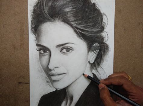 deepika padukone drawing drawing deepika padukone with charcoal pencils timelapse