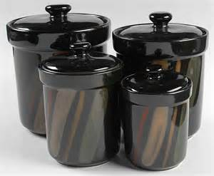 Black Kitchen Canisters Sets Sango Avanti Black 4 Piece Canister Set 8250597 Ebay