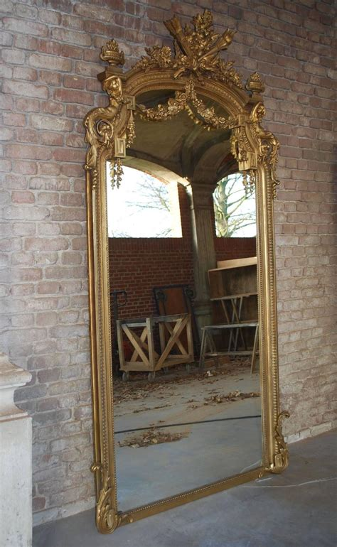 Large Gold Floor Mirror by Pair Of 19th Century Large Gold Gilded Mirror At 1stdibs