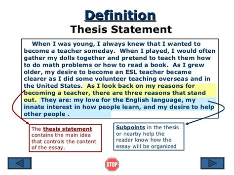 crafting a thesis statement thesis statement