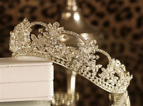A delicate tiara adds the finishing touch to a 'princess