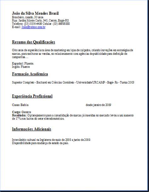 Modelo Curriculum Vitae Simple Conquiste Emprego Modelos De Curr 237 Culo Simples Para Impress 227 O Olhar Moderno