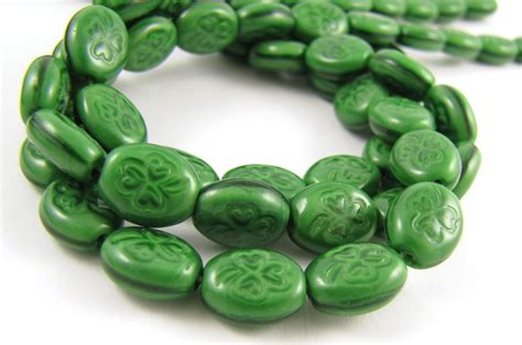 shamrock bead shamrock glass 9x10mm coral green 25pc 649