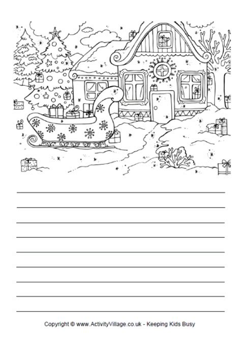 Printable Christmas Story Paper | sleigh story paper