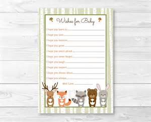 Flash Cards Staples Woodland Forest Animal Wishes For Baby Woodland Baby Shower