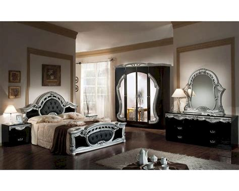 silver finish bedroom furniture classic bedroom set black and silver finish made in italy