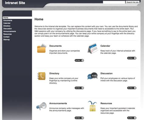 company intranet template 10 handy web templates from practical ecommerce