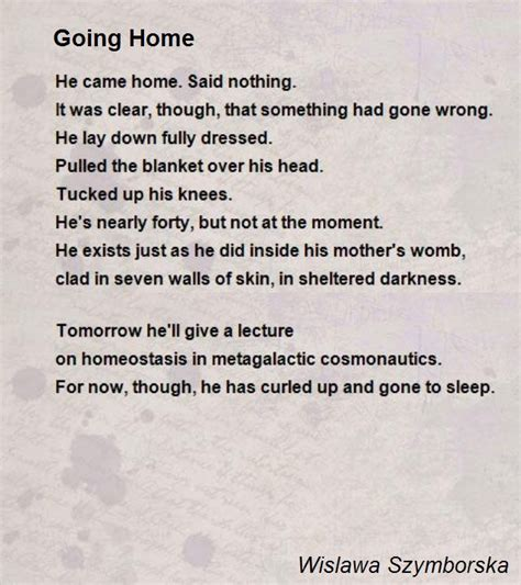 going home poem by wislawa szymborska poem