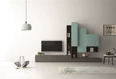 sectional lacquered tv wall system slim   dallagnese