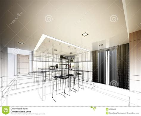 sketch to design a 3d kitchen abstract sketch design of interior kitchen stock illustration image 46305660