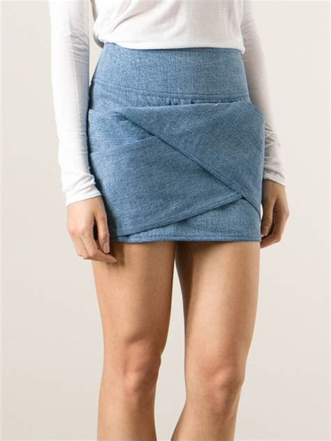 Origami Mini Skirt - skirt origami fold denim miniskirt mini skirt denim